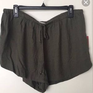 Army green boho style shorts